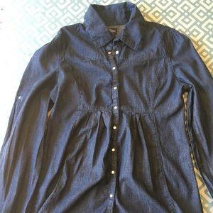 Wetseal dark denim long sleeve shirt